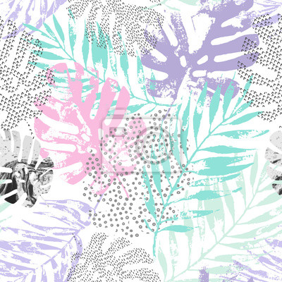 Vector art illustration: rough grunge tropical leaves filled with marble texture, doodle elements background.