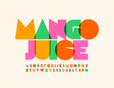 Obraz Vector bright emblem Mango Juice with transparent creative Font. Colorful Uppercase Alphabet Letters and Numbers