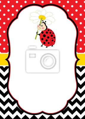 Obraz Vector Card Szablon Z Cute Biedronka Na Tle Chevron I Polka