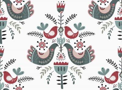 Obraz Vector Christmas seamless pattern in scandinavian style.