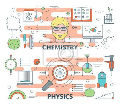 Vector cienkiej linii płaskiej chemii projektowania i koncepcji fizyki banery