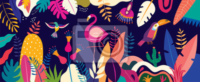 Obraz Vector colorful illustration with tropical flowers, leaves, flamingo and birds. Brazil tropical pattern.