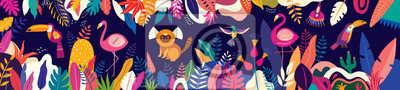 Obraz Vector colorful illustration with tropical flowers, leaves, monkey, flamingo and birds. Brazil tropical pattern.
