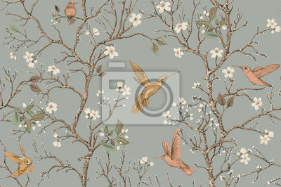 Obraz Vector colorful pattern with birds and flowers. Hummingbirds and flowers, retro style, floral backdrop. Spring, summer flower design for web, wrapping paper, cover, textile, fabric, wallpaper
