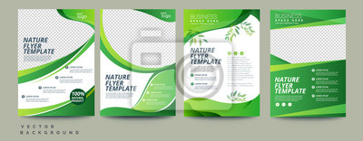 Obraz Vector eco flyer, poster, brochure, magazine cover template. Modern green leaf, environment design. - Vector