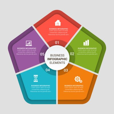 Vector elements for infographic. Template for diagram, graph, presentation and chart. Business concept with 3, 4, 5, 6 options, parts, steps or processes. Abstract background