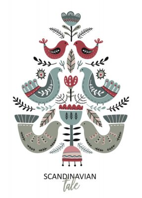 Obraz Vector greeting card, poster in scandinavian style.