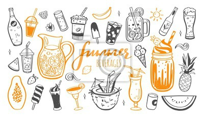 Obraz Vector hand drawn set of Cold drinks, summer cocktails and beverages with fruits. Various doodles for beach party, bar, restaurant menu. Isolated objects