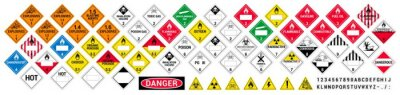 Obraz Vector hazardous material signs. Globally Harmonized System warning signs. All classes. Hazmat isolated placards. GHS