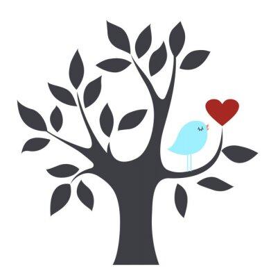 Vector i drzewa ptak