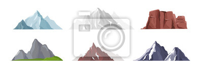 Obraz Vector illustration collection of different mountain icons in flat style. Rocks, mountains and hills set isolated on white background.
