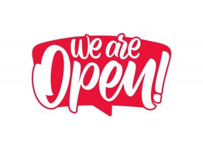 Obraz Vector illustration: Door sign with Handwritten calligraphic lettering of We are Open.