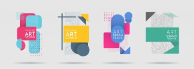 Obraz Vector illustration. Modern Art graphic. Minimalist geometric frame stylish. Halftone color. Flat shape. 80s, 90s retro elements for design invitations, gift card, flyers, banners, posters, brochures