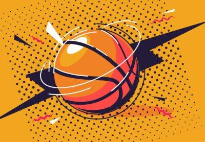 Obraz vector illustration of a basketball in pop art style