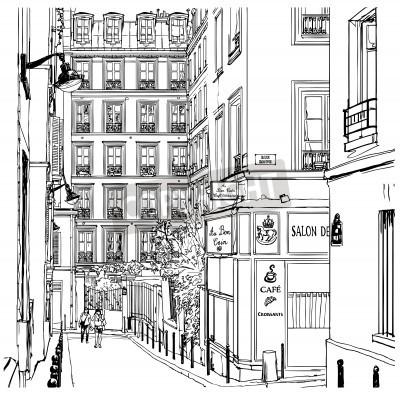 Obraz Vector illustration of a street near Montmartre in Paris