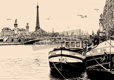 Obraz Vector illustration of a view of seine river in Paris with barges and eiffel tower