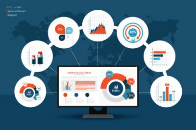 Vector illustration of analytics and data management concept.