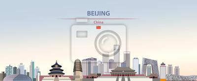 Obraz Vector illustration of Beijing city skyline on colorful gradient beautiful daytime background