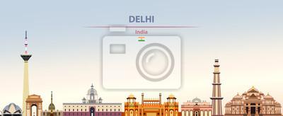Obraz Vector illustration of Delhi city skyline on colorful gradient beautiful daytime background