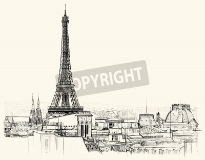 Obraz Vector illustration of Eiffel tower over roofs of Paris