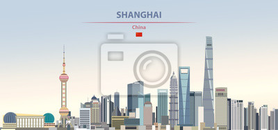 Obraz Vector illustration of shanghai city skyline on colorful gradient beautiful daytime background