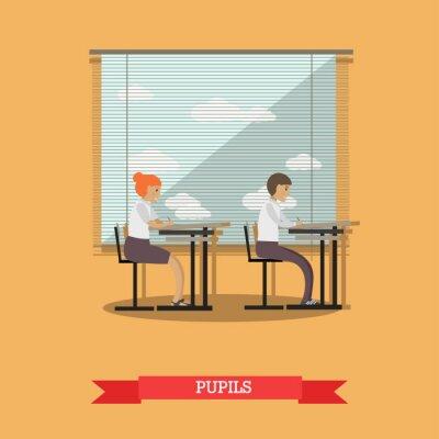 Vector ilustracją uczeń i uczennica na lekcji, styl mieszkania.