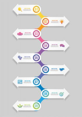 Vector Infographic Design Template with Options Steps and Marketing Icons can be used for info graph, presentations, process, diagrams, annual reports, workflow layout. Vector Illustration