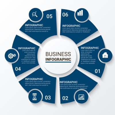 Vector infographic template, integrated circles. Business concept with options. For content, diagram, flowchart, steps, parts, timeline infographics, workflow, chart.