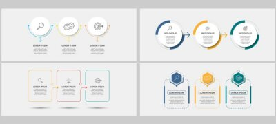 Obraz Vector Infographics set with 3 options or steps. Business concept. Can be used for presentations banner, workflow layout, process diagram, flow chart, info graph