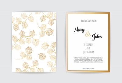 Vector Invitation With Gold Floral Elements Luxury Ornament Obrazy Redro