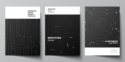 Obraz Vector layout of A4 format cover mockups design templates for brochure, flyer layout, booklet, cover design, book design, brochure cover. Tech science future background, space astronomy concept.