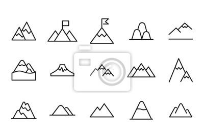 Obraz Vector line icons collection of mountain