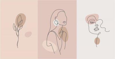 Obraz Vector minimalist style portrait. Line flower, woman portrait. Hand drawn abstract feminine print. Use for social net stories, beauty logos, poster illustration, card, t-shirt print