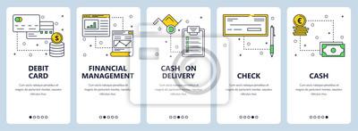 Vector modern thin line debit card vertical web banner set