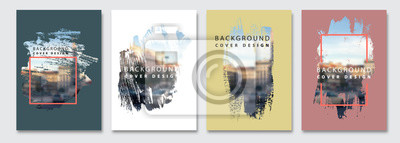 Obraz Vector paint brush clipping masks for flyer, presentation, brochure, banner, poster design. City blur background.