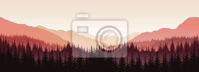 Obraz Vector panoramic landscape with red silhouettes of trees and hills