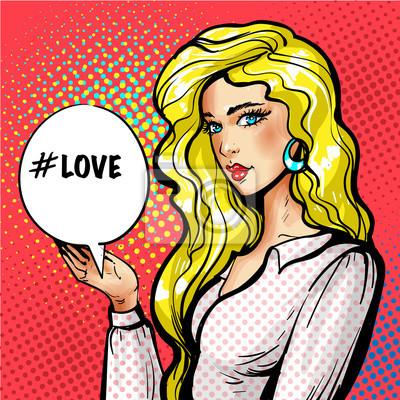 Vector pop art beautiful girl with love speech balloon