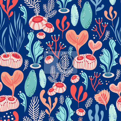 Vector seamless pattern on blue background with seaweed, sea sponges and corals. Abstract illustration with floral elements. Natural design.