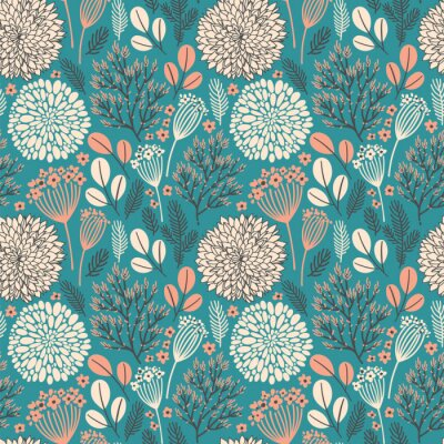 Vector seamless pattern on mint. Abstract background with floral elements. Natural design. Winter mood. Leaves and flowers.