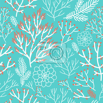 Vector seamless pattern on mite color. Abstract background with floral elements. Natural design. Winter mood.