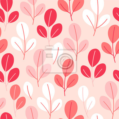 Vector seamless pattern on pink color with leaves and branch. Abstract background with floral elements. Natural design.