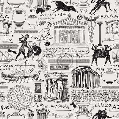 Obraz Vector seamless pattern on the theme of ancient Greece. Antique manuscript with sketches, Greek names of constellations and ancient gods, illegible handwritten texts in retro style