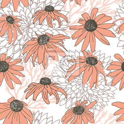 Vector seamless pattern on white. Floral background with flowers elements. Natural design.