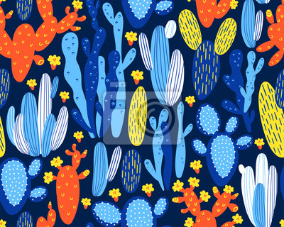 Vector seamless pattern with cactus on dark blue background. Summer plants, flowers and leaves. Natural floral bright design. Botanical illustration.