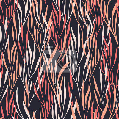 Vector seamless pattern with leaves. Abstract background with floral elements. Natural design.