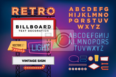 Obraz Vector set neon retro, vintage, billboard, jasne szyld
