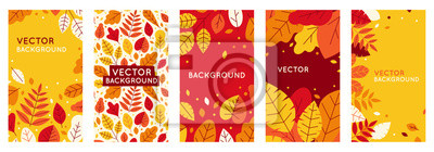 Obraz Vector set of abstract backgrounds with copy space for text - autumn sale