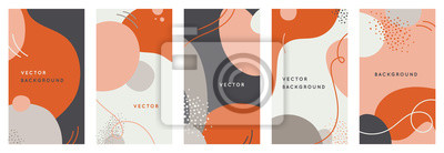 Obraz Vector set of abstract creative backgrounds in minimal trendy style with copy space for text - design templates for social media stories