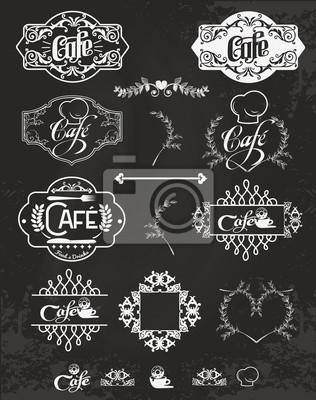 Vector set of cafe labels, design elements, emblems and badges