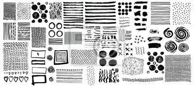 Obraz Vector set of grungy hand drawn textures. Lines, circles, crosses, smears, spirals, waves, brush strokes, triangles. Hand drawn elements for your graphic design
